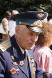 Soviet Army veteran. SLAVIANSK, UKRAINE - MAY 9, 2012: Unidentified Soviet Army veteran of World War II on Victory day in Slaviansk on May 9, 2012. Veteran Royalty Free Stock Photo