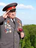 Soviet Army veteran of World War II. On victory parade in Kiev, Ukraine, May 9, 2008 Royalty Free Stock Images