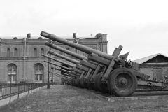 Soviet artillery. Black and white royalty free stock photo