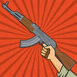 Soviet Assault Rifle. Vector Illustration of a fist holding an assault rifle  in the style of Russian Constructivist propaganda posters Stock Image