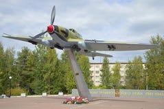 Soviet attack aircraft IL-2. The monument to the defenders of Leningrad. Lebyazhye, Leningrad region Stock Image