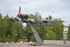 Soviet attack aircraft IL-2. The monument to the defenders of Leningrad in sky. Leningrad region Stock Image