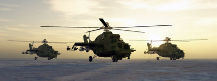 Soviet attack helicopters. Computer generated 3D illustration with Soviet attack helicopters of the cold war Stock Photo