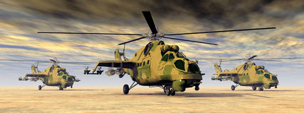 Soviet attack helicopters Stock Image