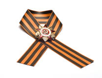 The Soviet award. Ribbon of Saint George and the Order of the Patriotic War on a white background Stock Photo