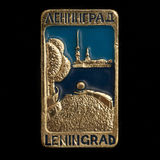 Soviet badge with two inscriptions Leningrad Royalty Free Stock Image