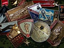Soviet badges depicting of the city of Novorossiisk with the the inscription `Novorossiysk - Hero city` stock image