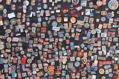 Soviet badges. A souvenir stand in the old town area of Baku, Azerbaijan, a former Soviet republic Stock Photography