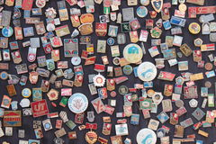 Soviet badges. A souvenir stand in the old town area of Baku, Azerbaijan, a former Soviet republic Royalty Free Stock Image