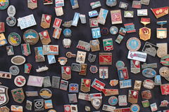 Soviet badges. A souvenir stand in the old town area of Baku, Azerbaijan, a former Soviet republic Royalty Free Stock Photography