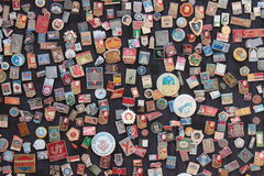 Soviet badges. A souvenir stand in the old town area of Baku, Azerbaijan, a former Soviet republic Royalty Free Stock Photo