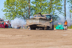 Soviet BAT - M military bulldozer stands on track on a motortechnic festival Royalty Free Stock Photo