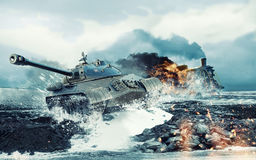 Soviet battle tank on the background of the burning locomotive attacked Royalty Free Stock Image