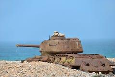 Soviet battle tank. Rusty soviet battle tank T-34 on the shore of Indian ocean at the Socotra Island, Yemen Stock Photography