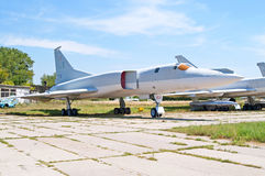 Soviet bomber Tupolev Tu-22M Backfire by NATO displayed at Zhuliany State Aviation Museum in Kyiv, Ukraine. Zhuliany State Aviation Museum is the largest royalty free stock photos