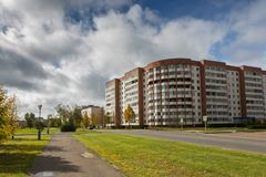 Soviet building residential building on the city street. Residential houses. Royalty Free Stock Photos