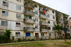 Soviet-Built Public Housing in Disrepair, Cienfuegos, Cuba. An apartment building built with Soviet aid decaying in Cienfuegos, Cuba Royalty Free Stock Images