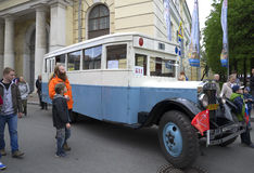Soviet bus ZIS-8 - the participant of parade of vintage vehicles. Saint Petersburg Royalty Free Stock Photography