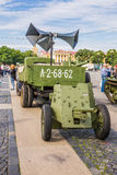 Soviet cannon and truck ZIS-5 of World War II on the action on Palace Square, Saint-Petersburg Stock Photo