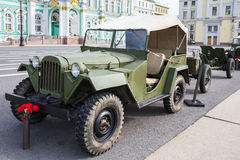 Soviet car GAZ-67 of times of World War II on the military-patriotic action dedicated to the Day of Memory and Grief on Palace Squ Stock Images