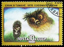 Soviet Cartoon Films. Hedgehog in fog, serie, circa 1988. MOSCOW, RUSSIA - MAY 25, 2019: Postage stamp printed in Soviet Union shows Soviet Cartoon Films royalty free stock photography