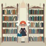 Soviet cartoon schoolgirl in library. Stock Photo
