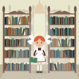 Soviet cartoon schoolgirl in library. Royalty Free Stock Photo