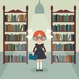 Soviet cartoon schoolgirl in library. Stock Image