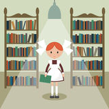 Soviet cartoon schoolgirl in library. Royalty Free Stock Photography