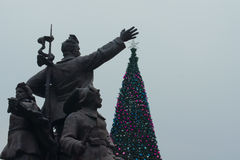 Soviet Christmas. Soviet monument with Christmas tree Royalty Free Stock Images