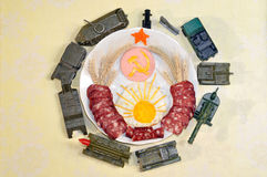 Soviet coat of arms made from foods. military Toys Royalty Free Stock Photos