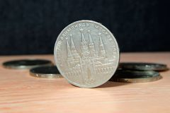 Soviet coin dedicated to the 1980 Olympics close up. Selective focus royalty free stock photo