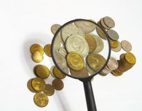 Soviet coins. The Soviet coins through magnifying glass Stock Image