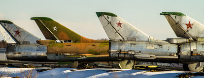 Soviet combat aircraft in the Parking lot. Royalty Free Stock Photo