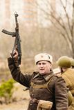 The Soviet commander with a gun in his hand. Gomel, Belarus Royalty Free Stock Image