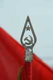 Soviet communist flag. Pike on the blue background Stock Images