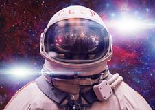 Soviet cosmonaut in outer space. Photomontage image royalty free stock photos