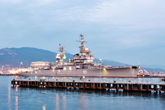 Soviet cruiser Mikhail Kutuzov in dock in Novorossiysk, Russia Stock Photos