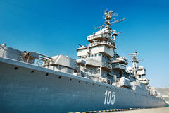 Soviet cruiser Mikhail Kutuzov in dock Stock Images