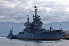 Soviet cruiser Mikhail Kutuzov in Novorossiysk, Russia Stock Photography