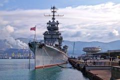 Soviet cruiser Mikhail Kutuzov in Tsemess Bay. Novorossiysk, Russia Royalty Free Stock Photography