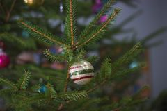Soviet decorations hang on Christmas tree royalty free stock photos