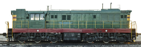 Freight diesel locomotive. Old freight soviet diesel locomotive on the railroad. Extra large size. Isolated Royalty Free Stock Image