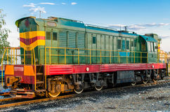 Soviet diesel locomotive. Diesel locomotive on the railroad. Close up stock photography