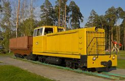 Soviet diesel locomotive TU7A. Monument in city park of Shatura, Moscow region, Russia Stock Photos