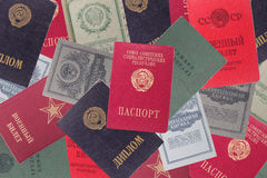 Soviet documents. Composition from ancient Soviet documents of different function Royalty Free Stock Photo