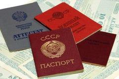 Soviet documents and stock shares. Soviet documents lie in the stock shares stock photography