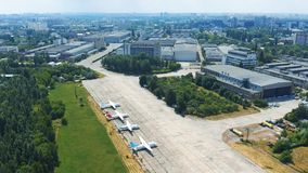 Soviet-era Antonov aircraft factory in Kiev. Museum exhibits of Antonov aircraft near the hangar. 4k stock video footage