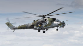 A Soviet era Mi-24 Hind helicopter Stock Photos