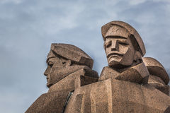 Soviet era monument for the Latvian Riflemen. Latvian Riflemen w Royalty Free Stock Photos